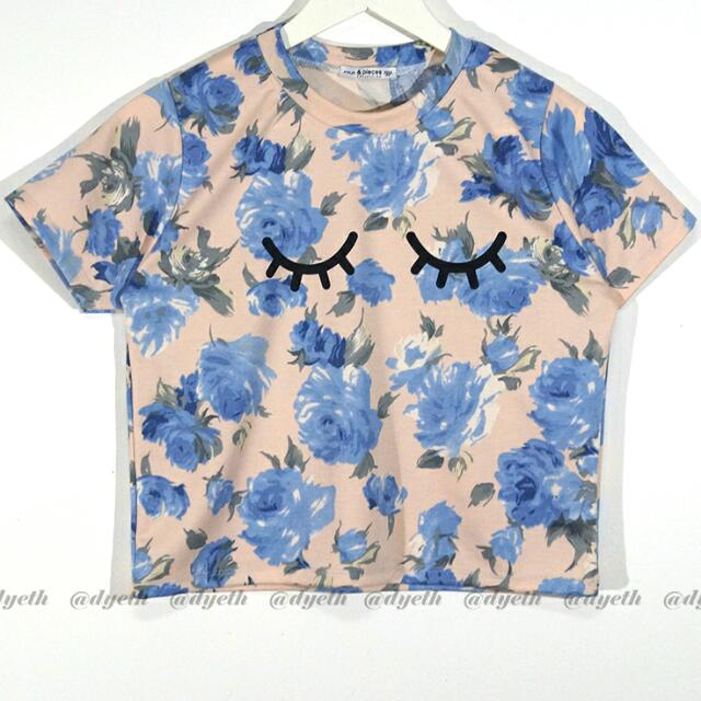 Floral top with eyes print