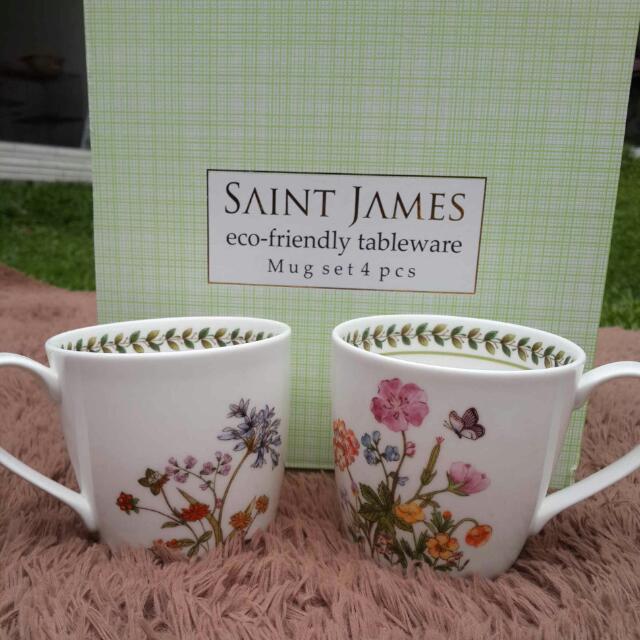 Saint James Flower Ceramic Mugs