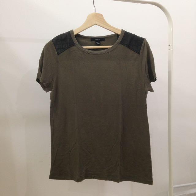 Forever21 Leather Shoulder Olive Green T-shirt (Size S)