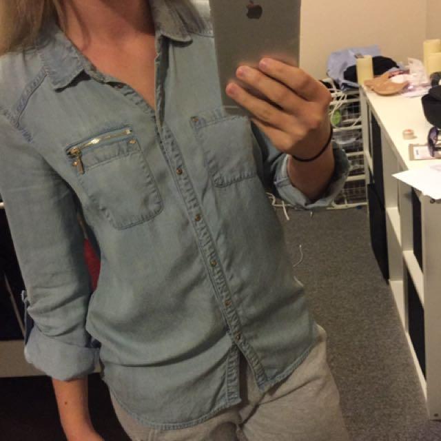 Forever New Light Blue Denim Top Button Up