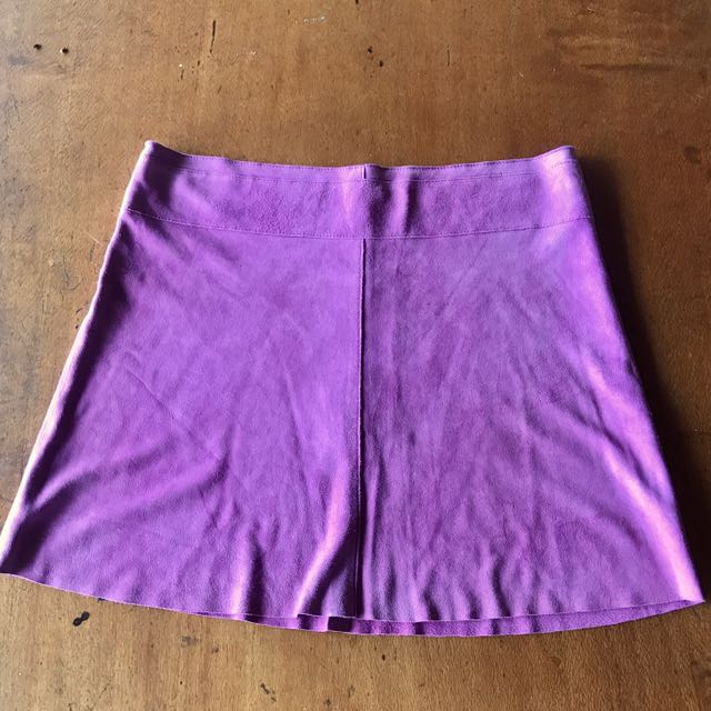 Fuschia Pink Suede A-line Mini Skirt