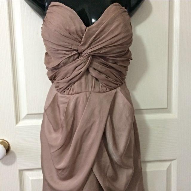 Gold Strapless Cocktail Dress