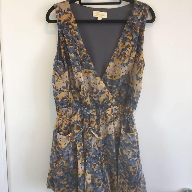 GOLDIE LONDON Floral Playsuit Blue Yellow Waist Tie Size 0 XS Au 6-8