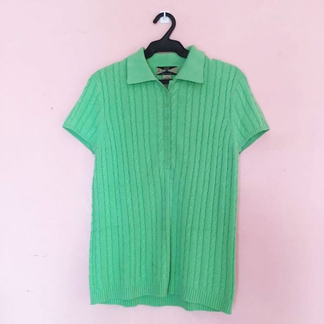 Green Knitted Polo Shirt