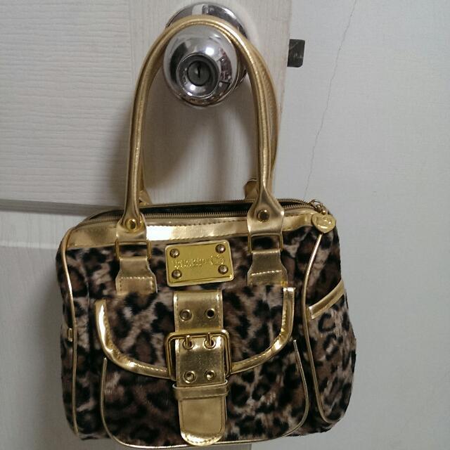 Hello Kitty 凱蒂貓 豹紋手提包