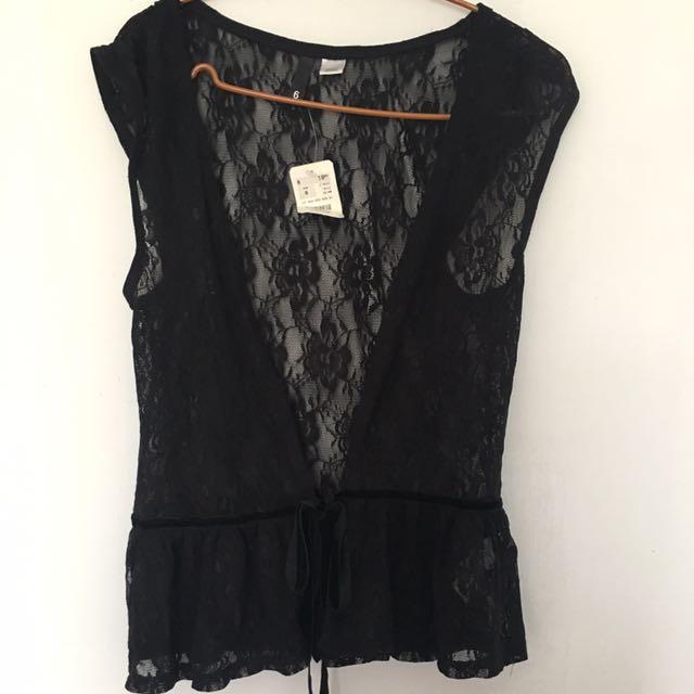 H&M 軟蕾絲罩衫