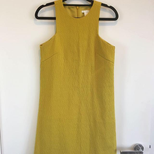 H&M Chartreuse Dress Mod 60s Textured Cute Size 6