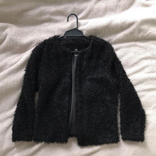 H&M Fluffy Cardigan- Black (US size 6)