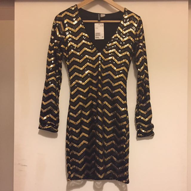 H&M Sequin Bodycon Plunge Dress