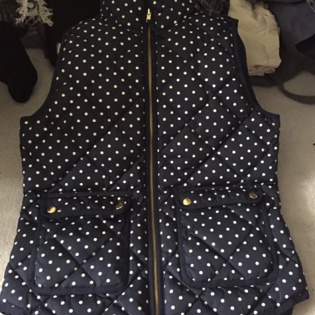JCrew Navy Blue Polka Dot Vest