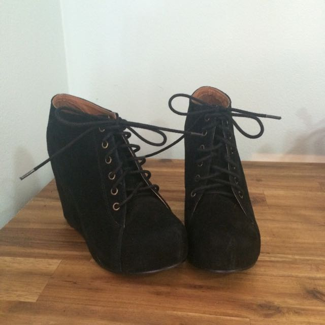 Sz 8 Jeffrey Campbell 99 Lace Up Wedge Ankle Boots