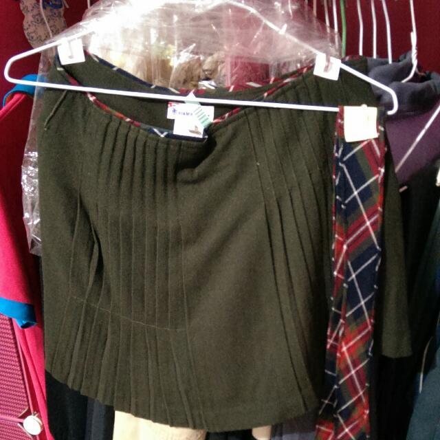 K牌深綠百折格子裙(附格子紋綁帶)
