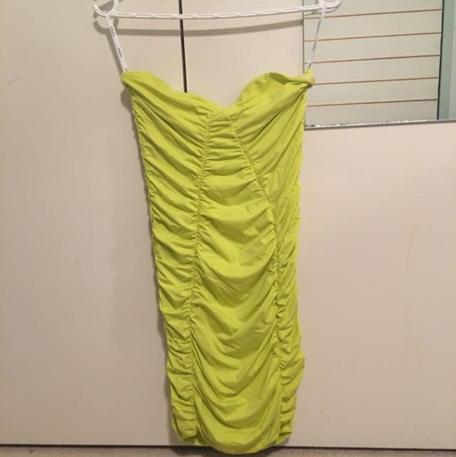 Kookai Neon Lime Strapless Dress