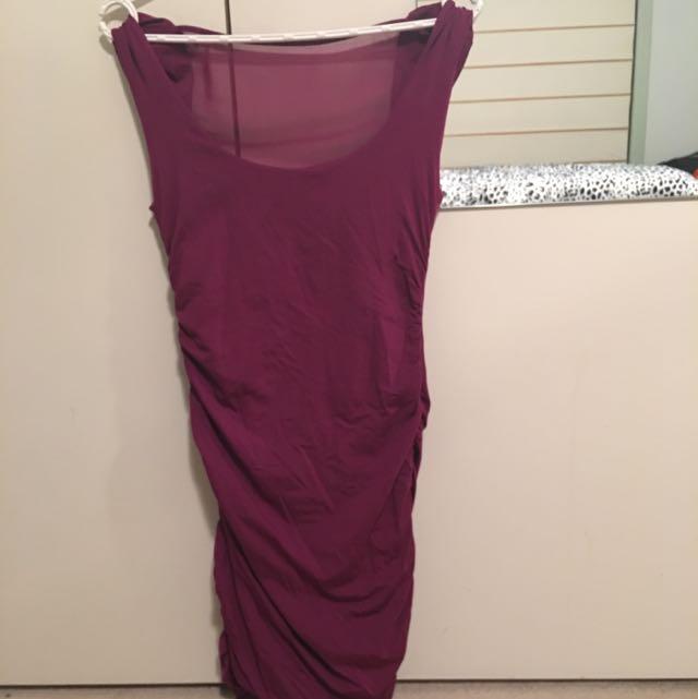 Kookai Purple Mesh Ruched Dress