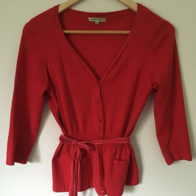 Laura Ashley Red Cotton Cardigan XS
