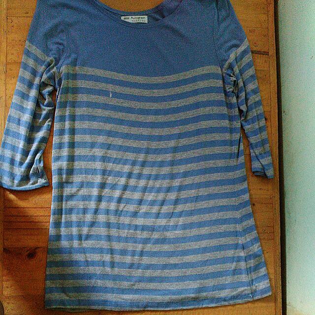 Marks & Spencer Blue Stripes 3/4 Top