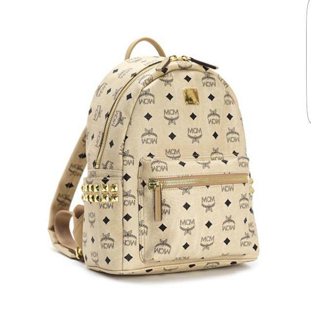 MCM Backpack In Beige Colour n Gold Studs