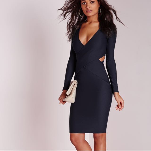 Missguided Navy Cut Out Dress
