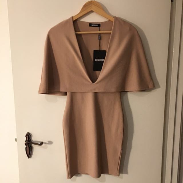 Missguided Taupe Plunge Dress