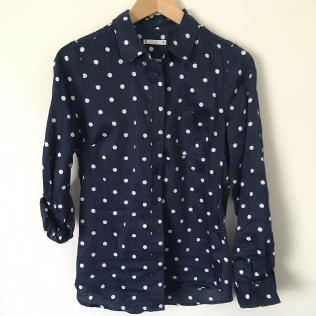 Navy Blue And White Spot Target Shirt Size 8