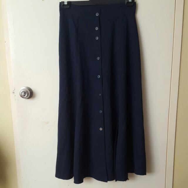 Navy Blue High Waisted Skirt