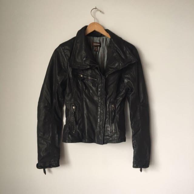New - Danier Leather Jacket - Motorcycle Huge Lapels