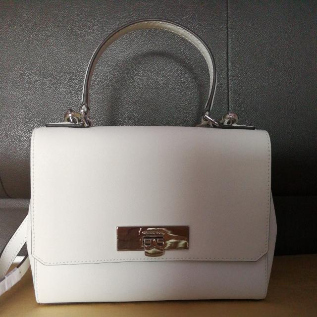 26c4daf993d8 NEW)MICHAEL KORS 35T6SYAM1L SAFFIANO SMALL CROSSBODY BAG WHITE ...