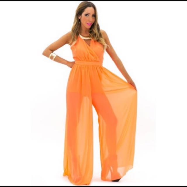 Orange Chiffon Jumpsuit
