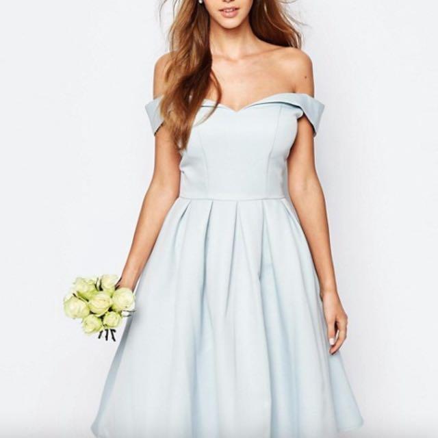 f4110901462e Reduce Pastel Blue Off Shoulder Midi Dress