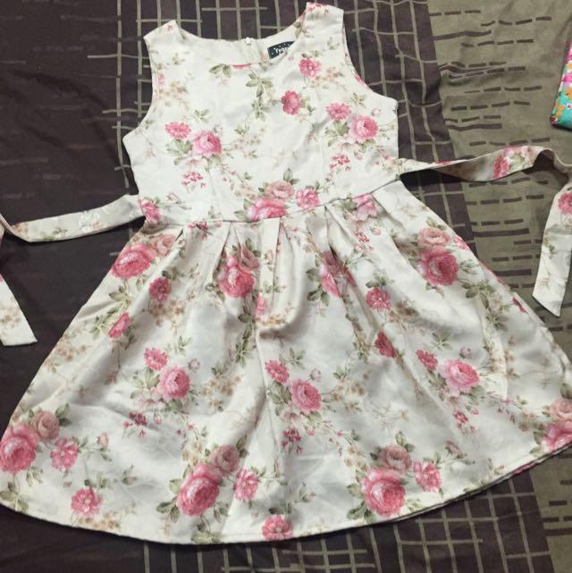 Pink Flower Mini Dress