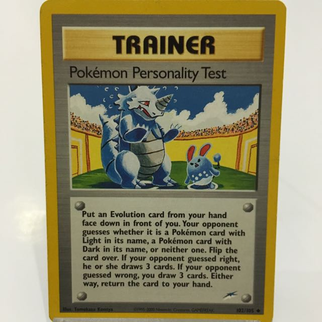 Pokemon Personality Test From Neo Destiny 102/105, Toys