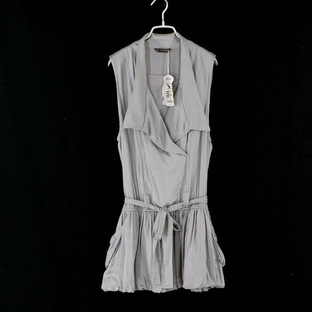 【P.P.F.M】灰色鬆緊腰綁帶無袖洋裝