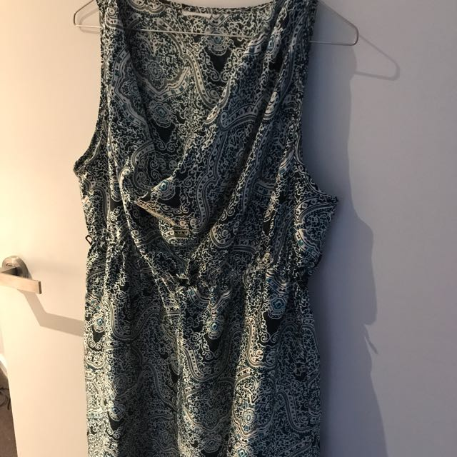 Printed Dress With Cowl Neck