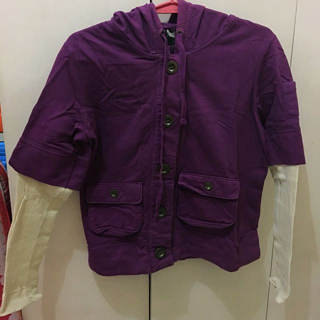 Purple Sweater With Extended Beige Sleeves