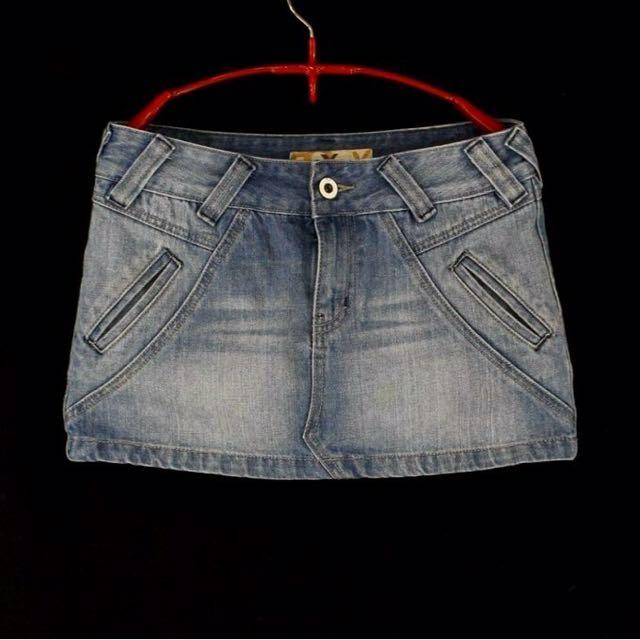 【ROXY】藍色刷白牛仔短裙#3