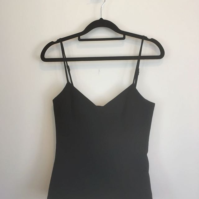 SABA Black Corset Top Boning Structured Crepe Fabric Size 6 XS