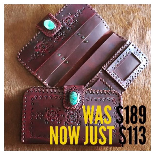 Sale!! Oversized Beautiful Turquoise Leather Wallet