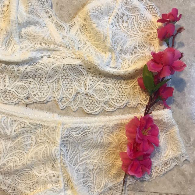 4493f74dbc8 Secret Possessions Lace Bralette   Brief set (Ivory   Burgundy ...
