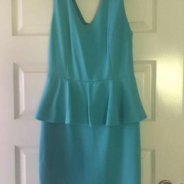Sky Blue Peplum Dress