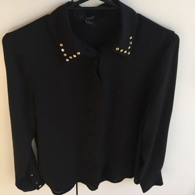 Small FOREVER21 Sheer Black Long Sleeved Top