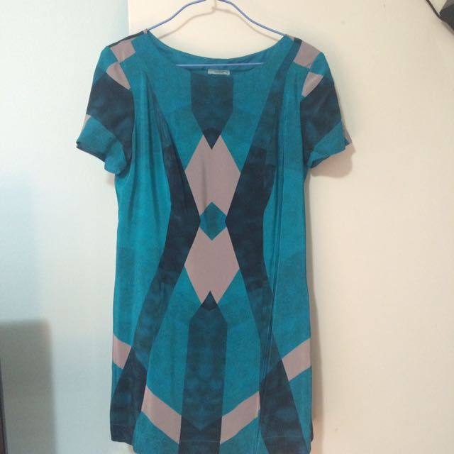Sz38 Kookai Silk Blue Patterned Dress