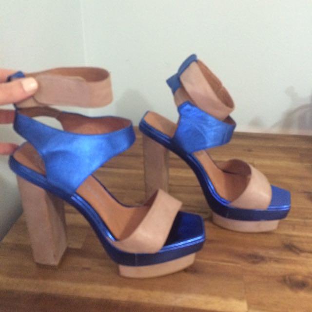 Sz8 Jeffrey Campbell Velez Blue & Beige Strap Heel
