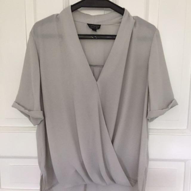 Topshop Light Gray Blouse