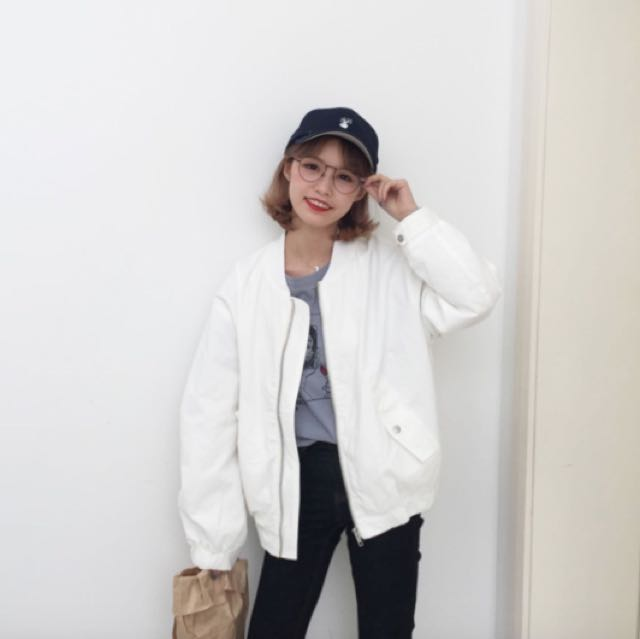 ab995b946 ulzzang korean inspired off white bomber jacket with embroidery ...