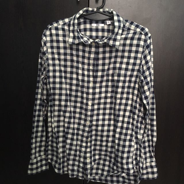 Uniqlo Blue and White Checkered Polo