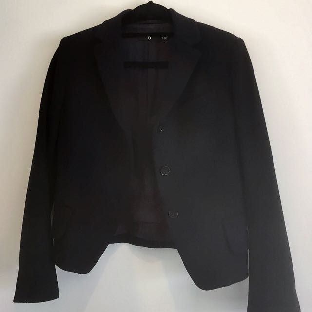 UNIQLO J+ Felt Navy Blue Winter Thick Jacket Blazer Size S 6-8