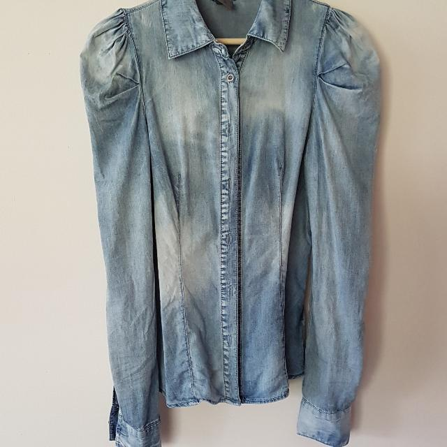 Vero Moda Size 10-12 Denim Long Sleeve Shirt