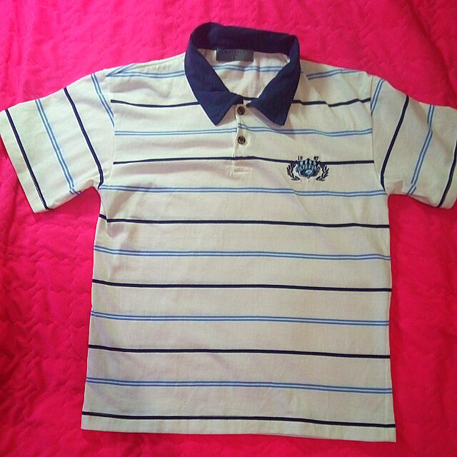 WHITE AND BLUE STRIPS POLO SHIRT