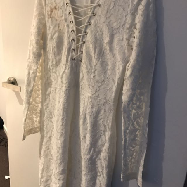 White Lace Dress With Crisscross Neck