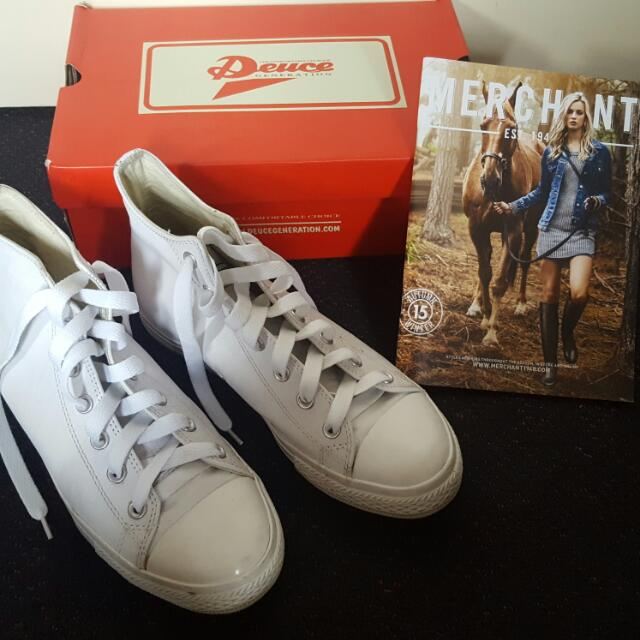 White Leather Sneakers Size 9
